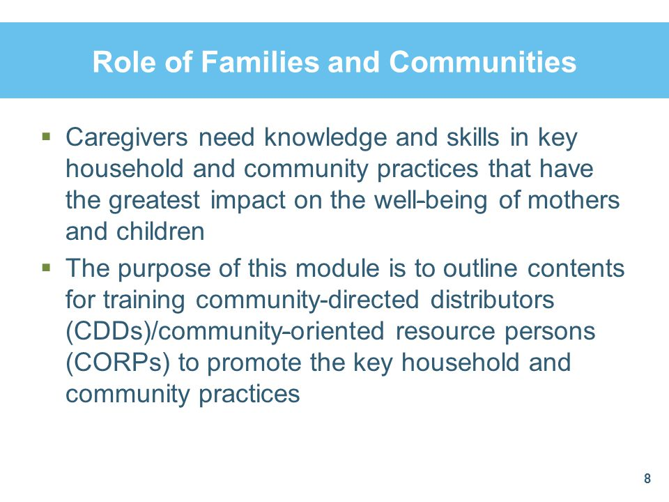 Role of Families and Communities