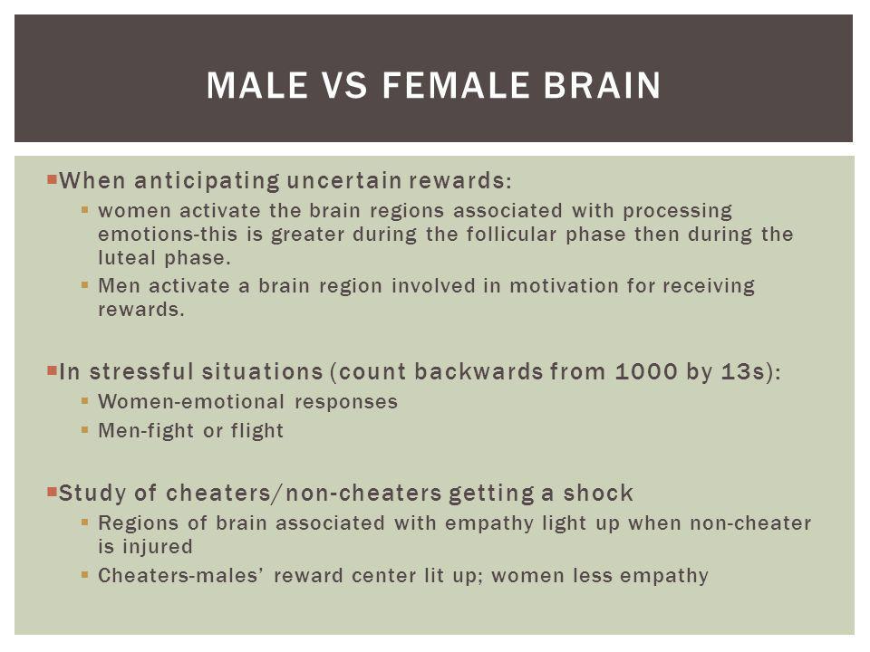 Male vs female brain When anticipating uncertain rewards: