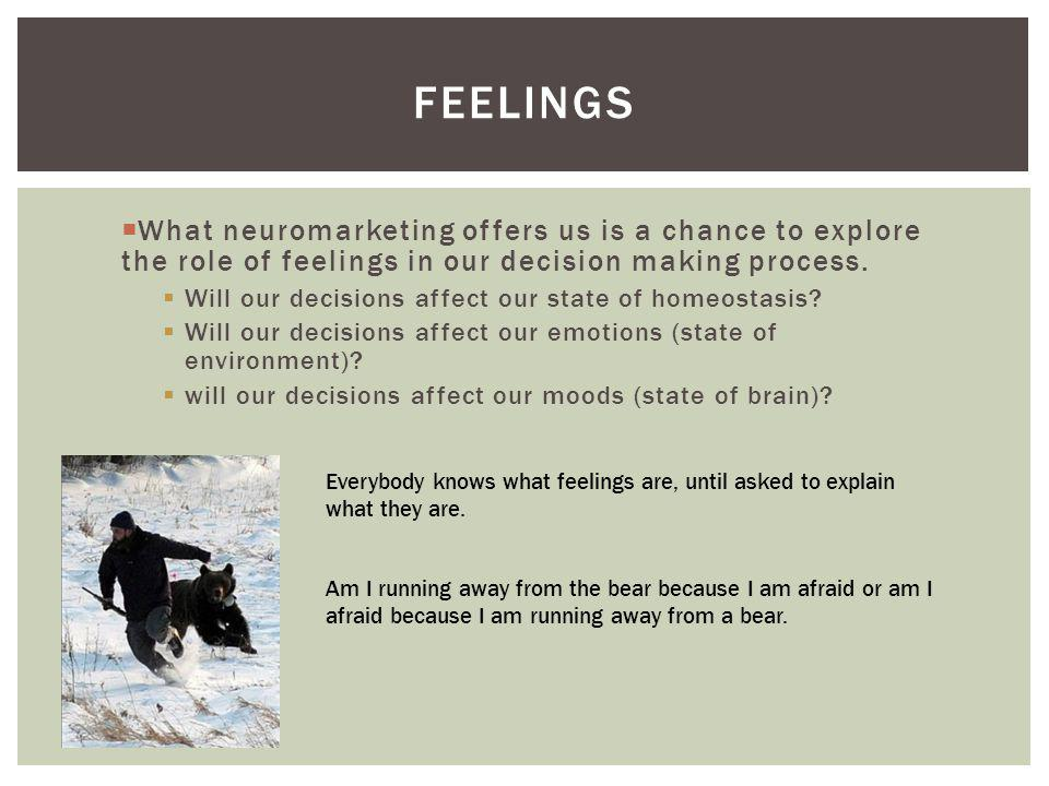 Feelings What neuromarketing offers us is a chance to explore the role of feelings in our decision making process.