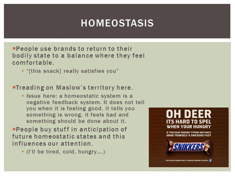 Homeostasis People use brands to return to their bodily state to a balance where they feel comfortable.