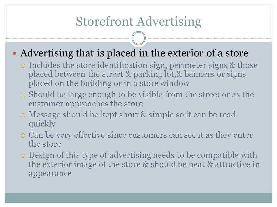 Storefront Advertising