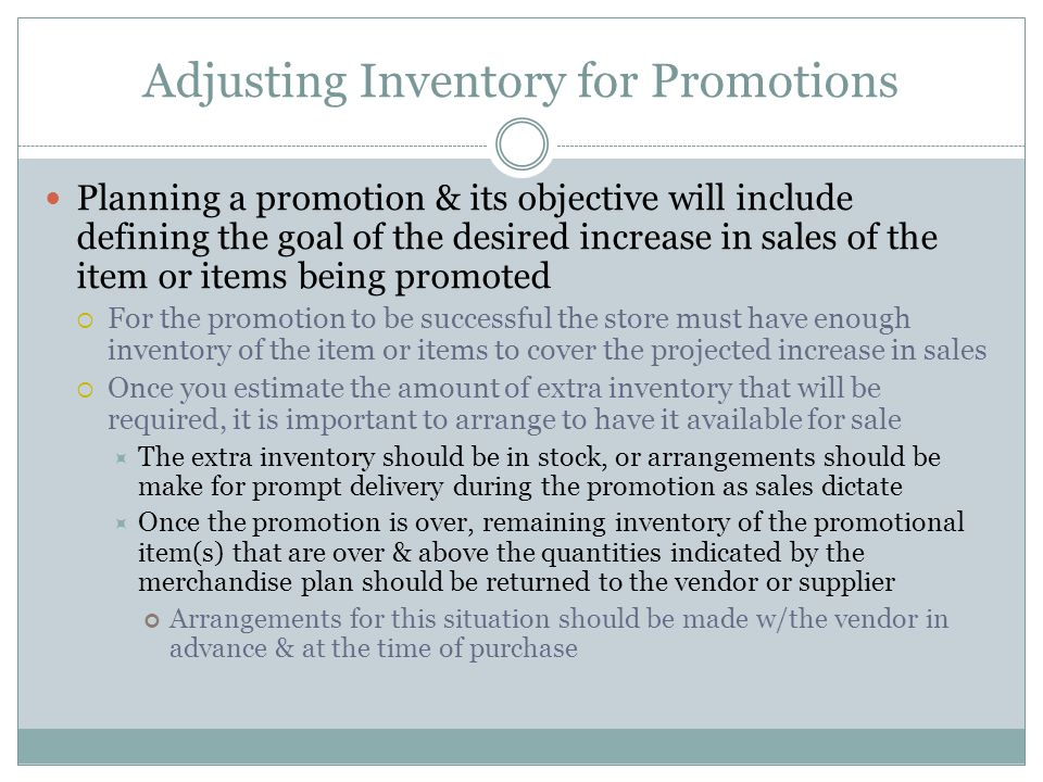 Adjusting Inventory for Promotions