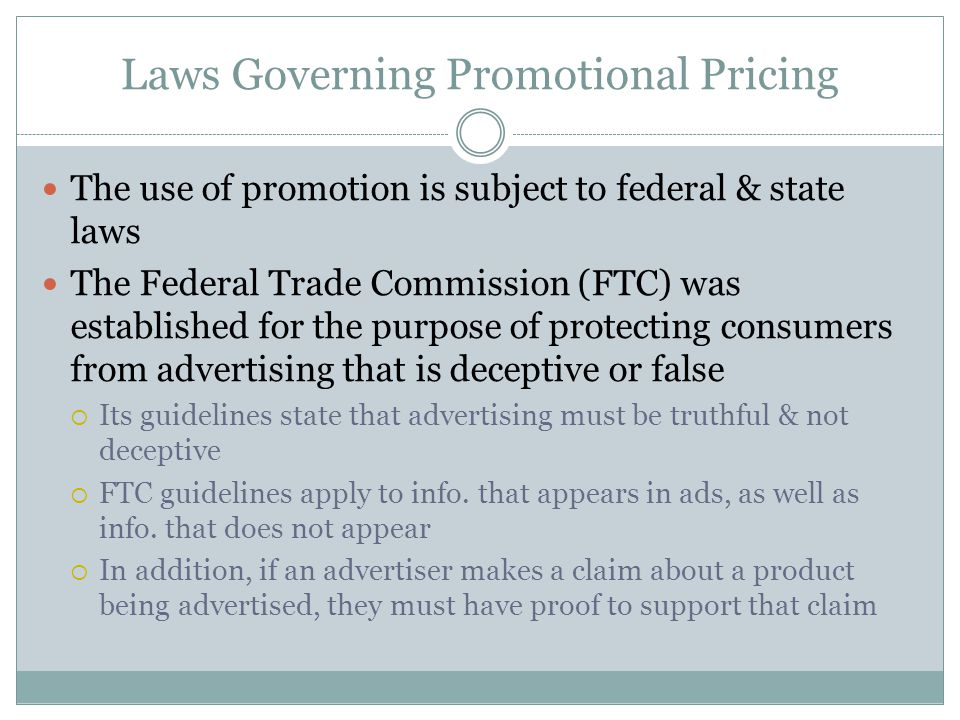 Laws Governing Promotional Pricing