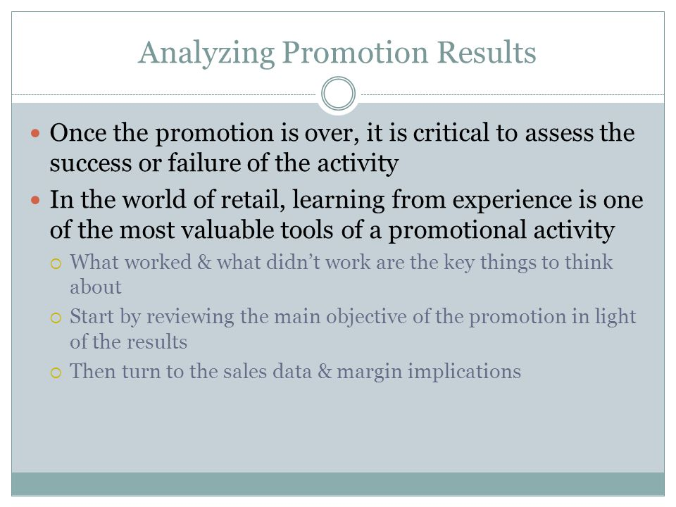 Analyzing Promotion Results