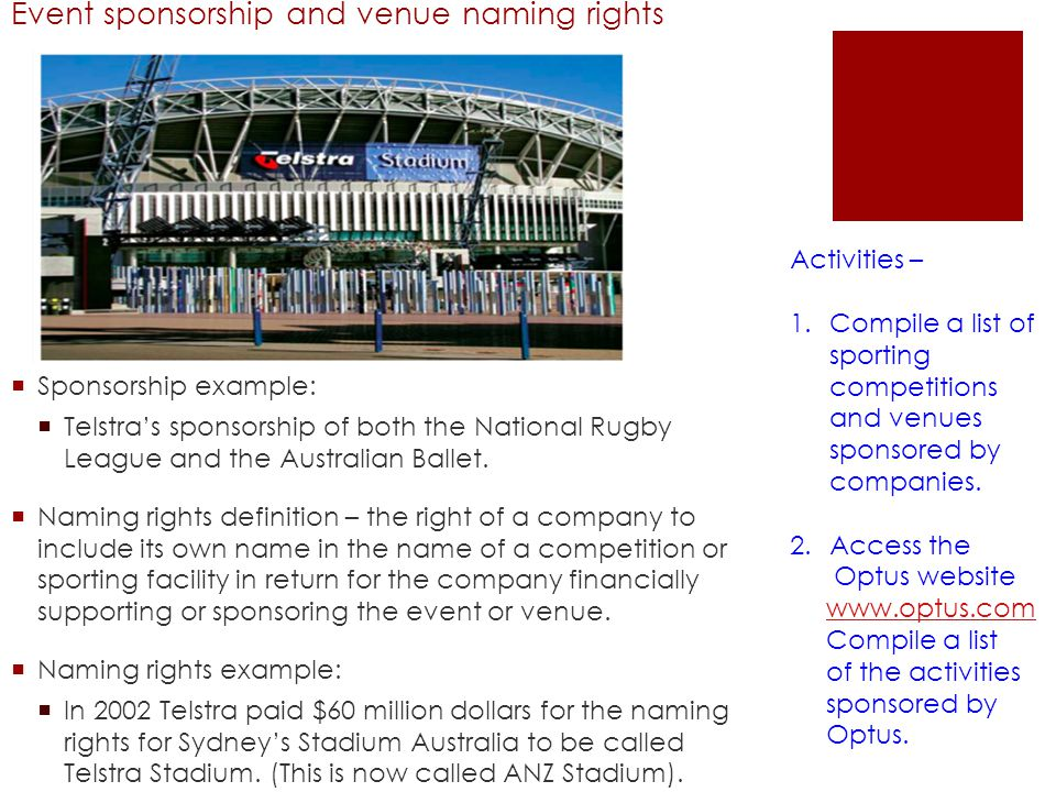 Event sponsorship and venue naming rights