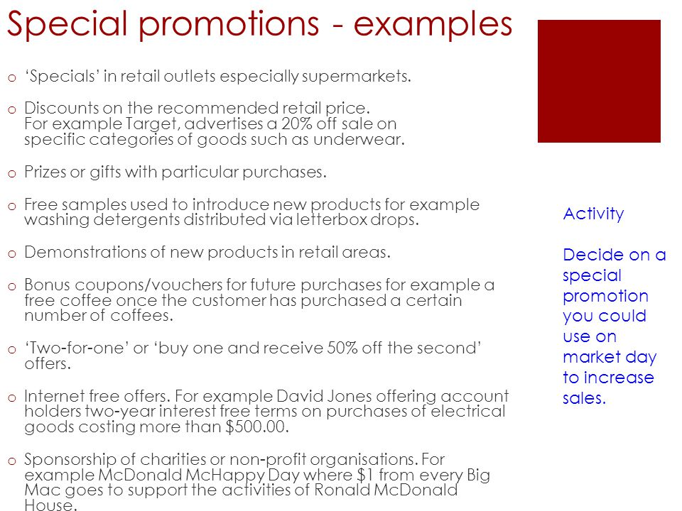 Special promotions - examples