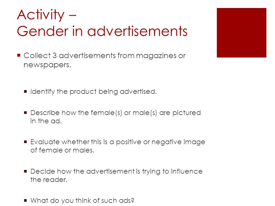 Activity – Gender in advertisements