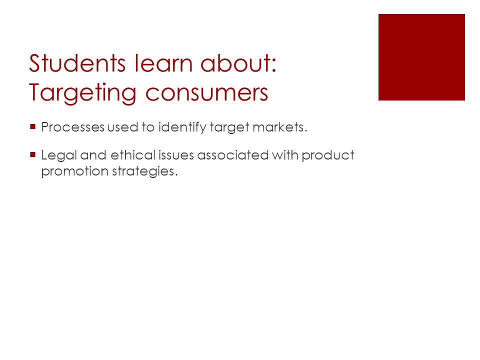Students learn about: Targeting consumers