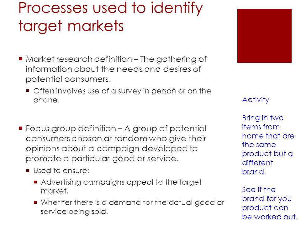 Processes used to identify target markets