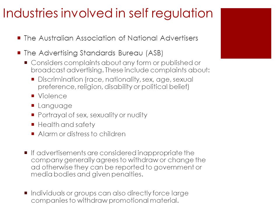 Industries involved in self regulation