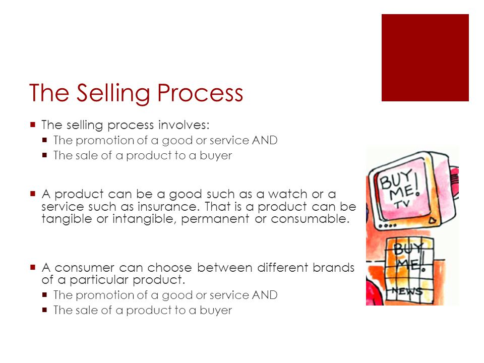 The Selling Process The selling process involves: