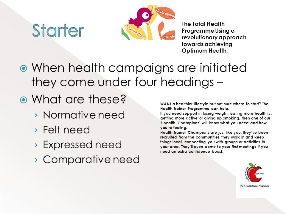 Starter The Total Health Programme Using a revolutionary approach towards achieving Optimum Health,