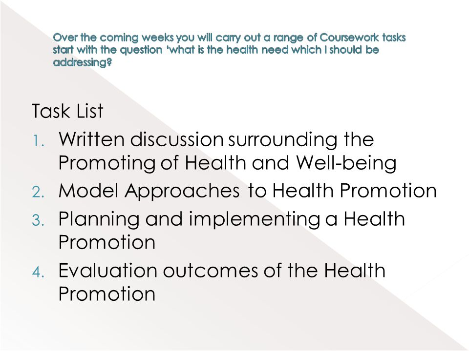 Written discussion surrounding the Promoting of Health and Well-being