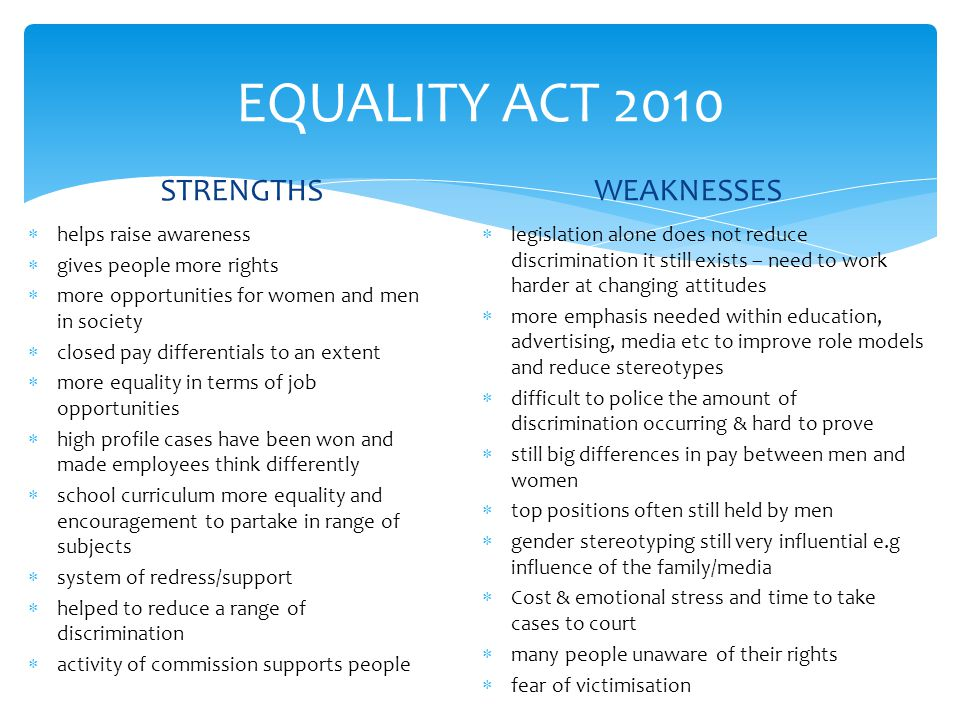 EQUALITY ACT 2010 STRENGTHS WEAKNESSES helps raise awareness