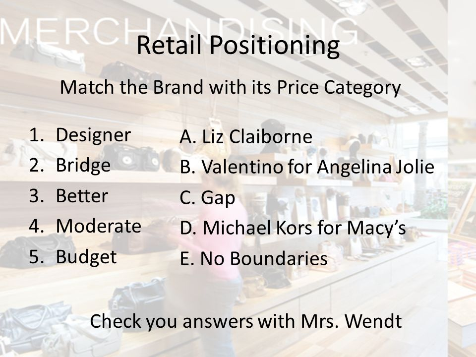 Retail Positioning Match the Brand with its Price Category Designer