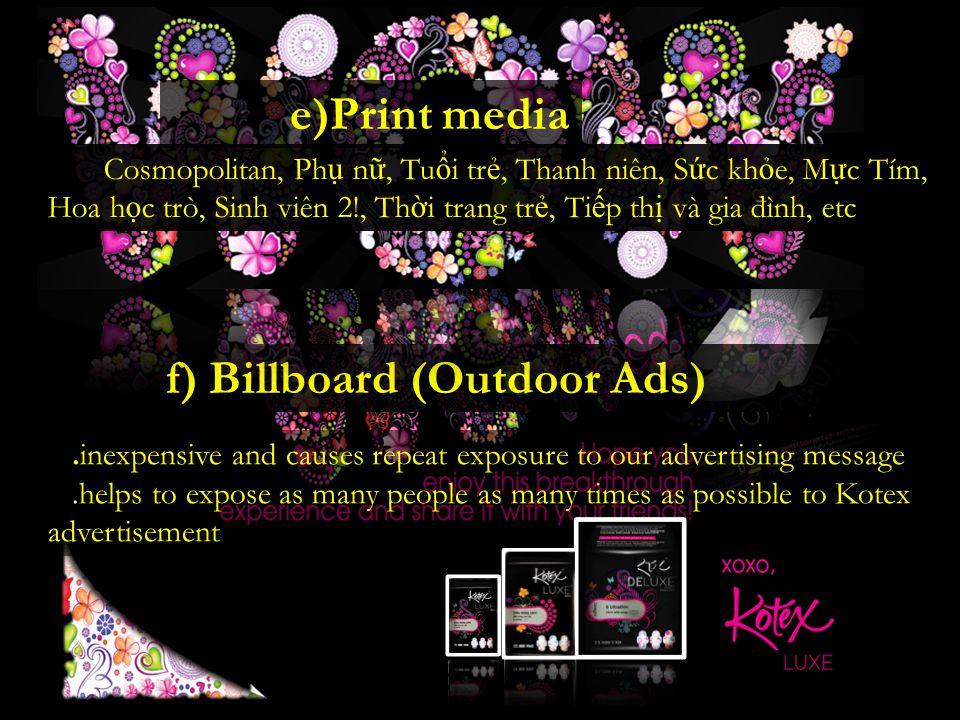 f) Billboard (Outdoor Ads)