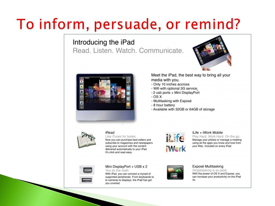 To inform, persuade, or remind