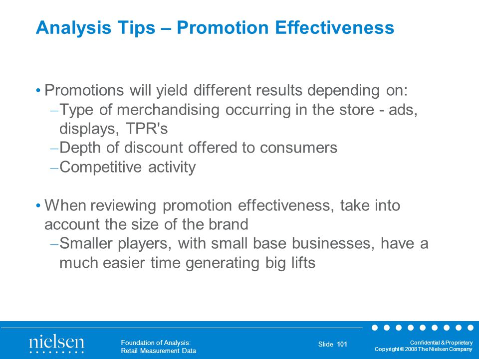 Analysis Tips – Promotion Effectiveness