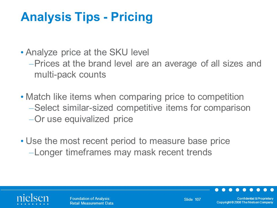 Analysis Tips - Pricing