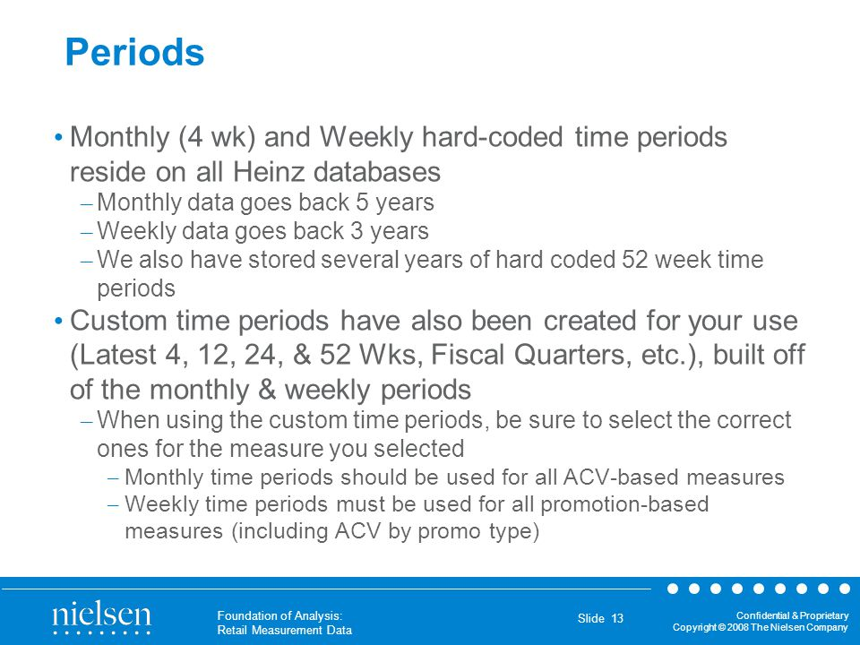 Periods Monthly (4 wk) and Weekly hard-coded time periods reside on all Heinz databases. Monthly data goes back 5 years.