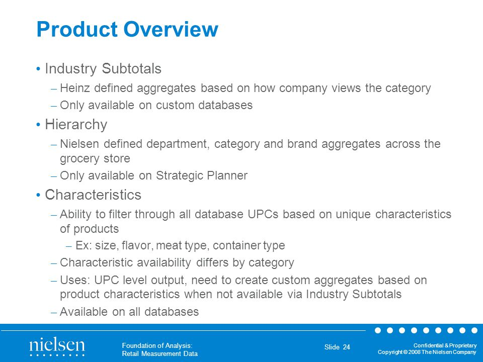 Product Overview Industry Subtotals Hierarchy Characteristics