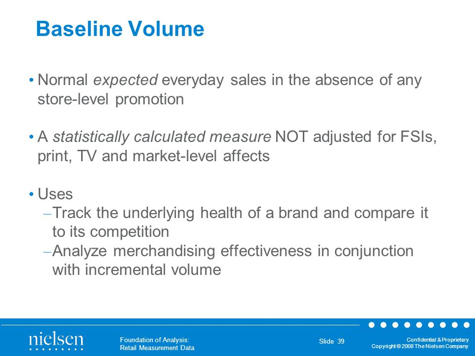 Baseline Volume Normal expected everyday sales in the absence of any store-level promotion.