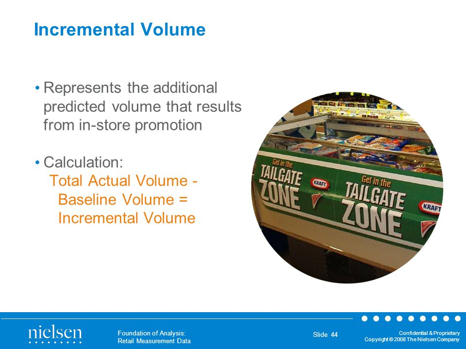 Incremental Volume Represents the additional predicted volume that results from in-store promotion.