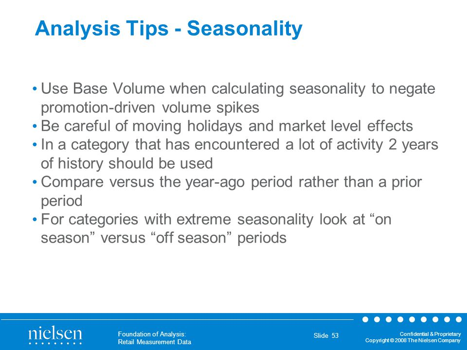 Analysis Tips - Seasonality