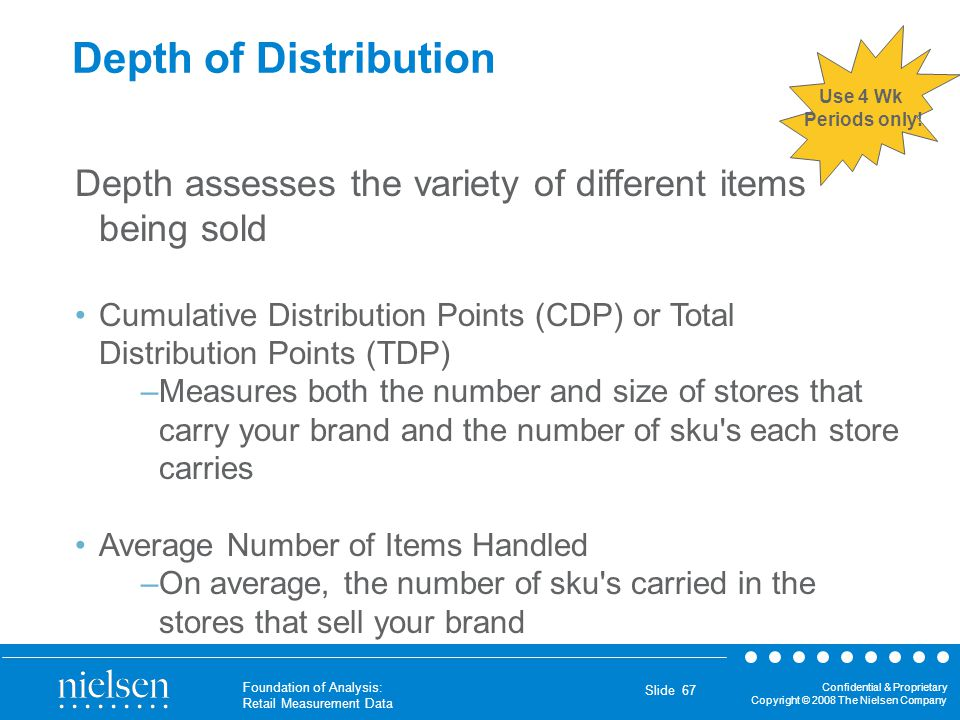 Depth of Distribution Use 4 Wk. Periods only! Depth assesses the variety of different items being sold.