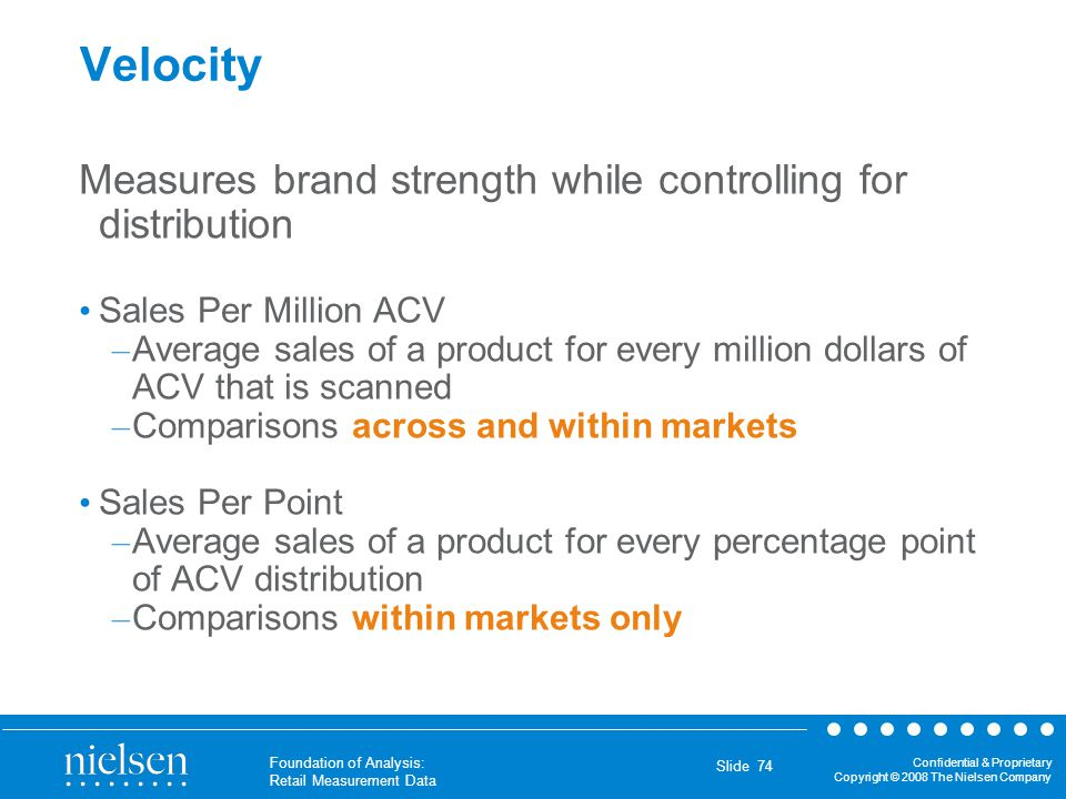 Velocity Measures brand strength while controlling for distribution