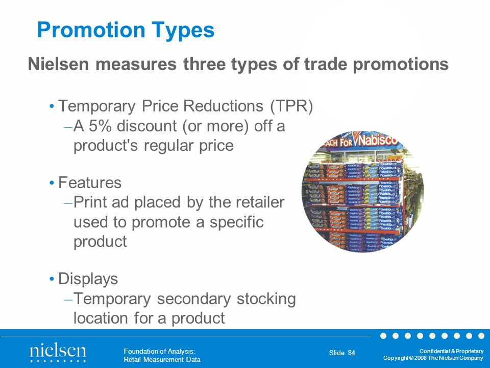 Promotion Types Nielsen measures three types of trade promotions
