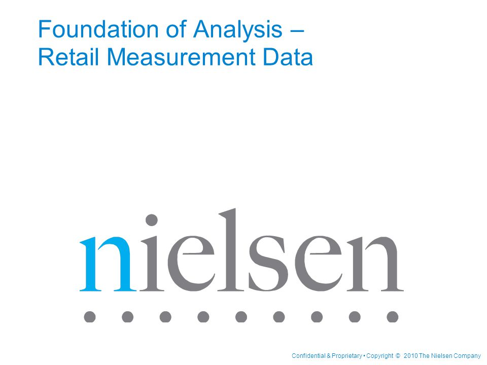 Foundation of Analysis – Retail Measurement Data