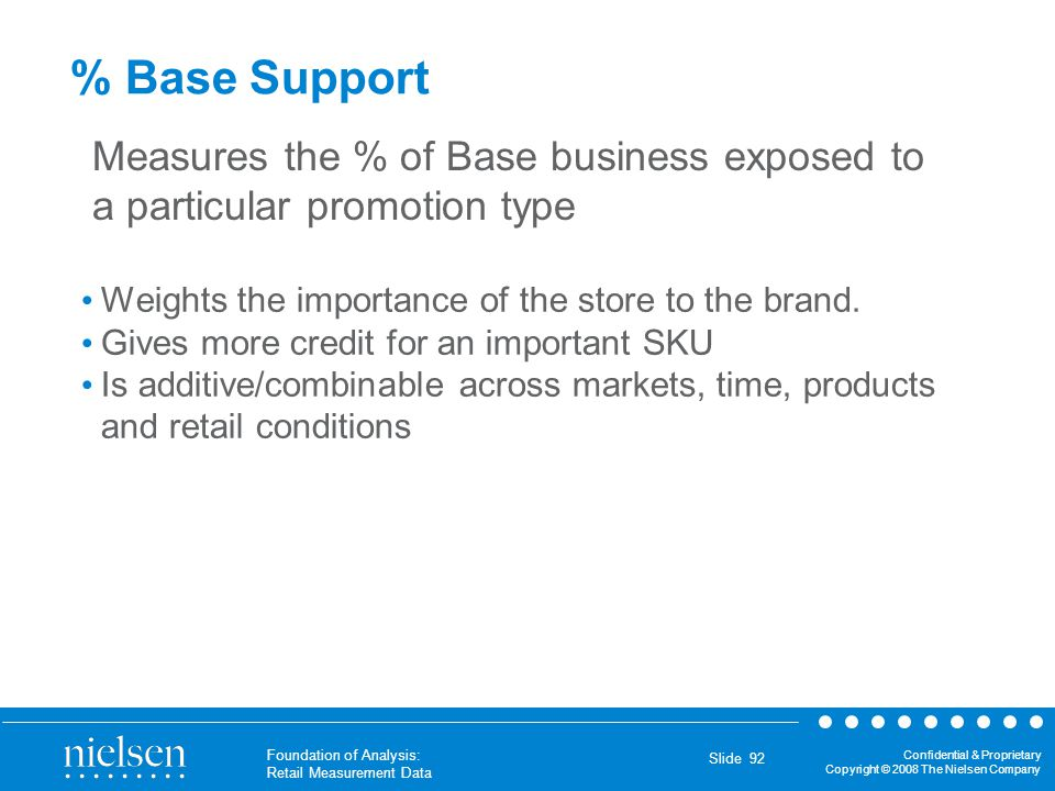 % Base Support Measures the % of Base business exposed to a particular promotion type. Weights the importance of the store to the brand.