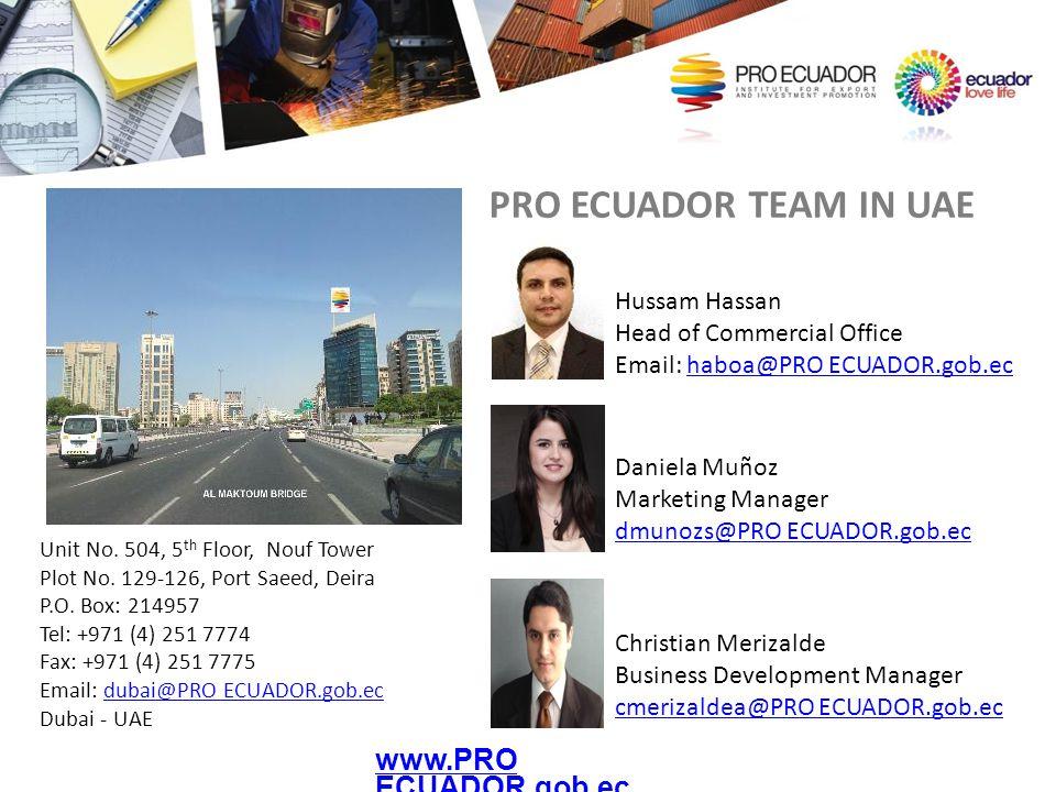 PRO ECUADOR TEAM IN UAE www.PRO ECUADOR.gob.ec Hussam Hassan