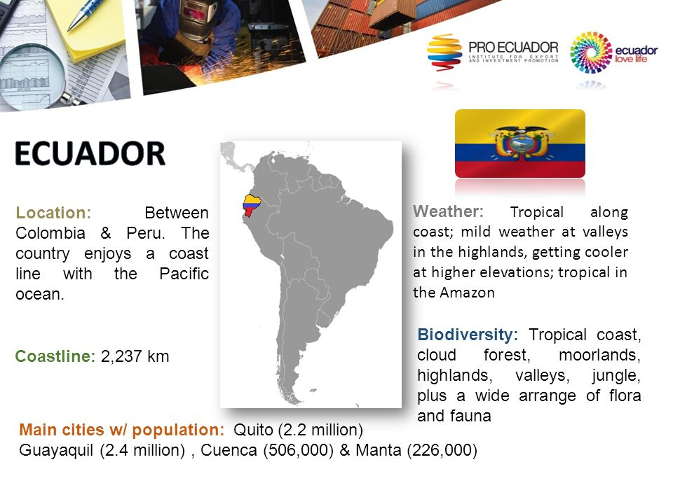 ECUADOR Location: Between Colombia & Peru. The country enjoys a coast line with the Pacific ocean.