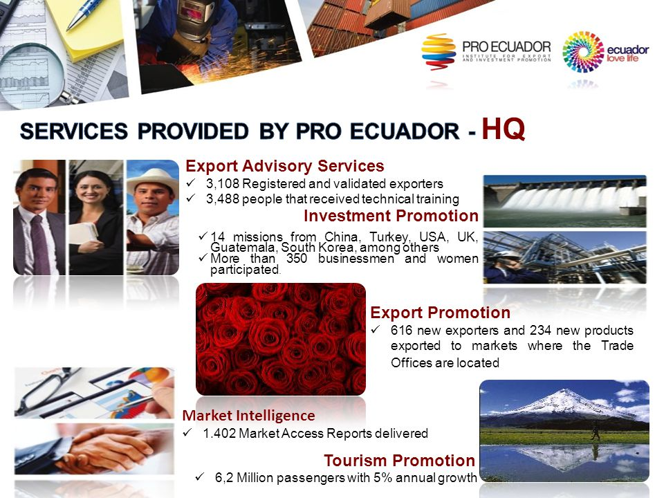 SERVICES PROVIDED BY PRO ECUADOR - HQ