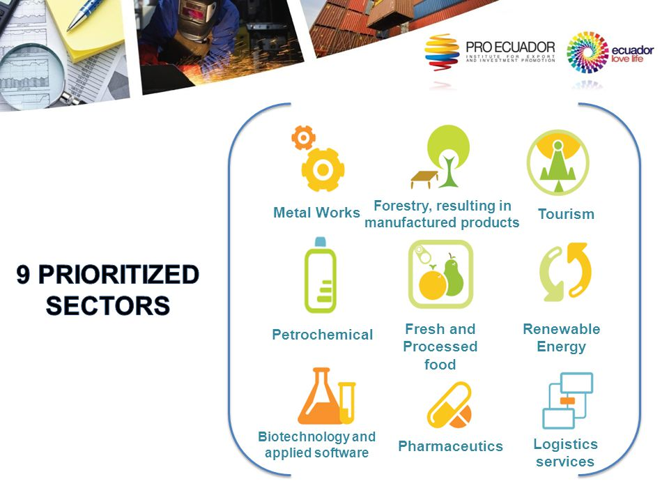 9 PRIORITIZED SECTORS Metal Works Tourism Fresh and Processed food