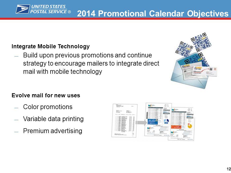 2014 Promotional Calendar Objectives