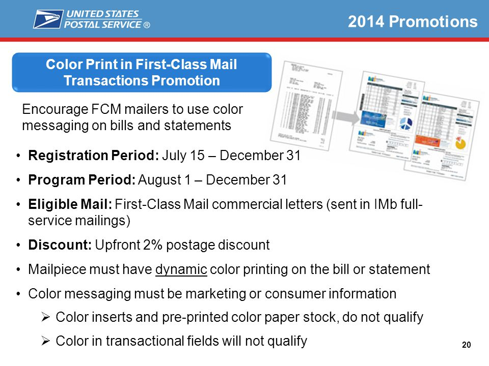 Color Print in First-Class Mail Transactions Promotion