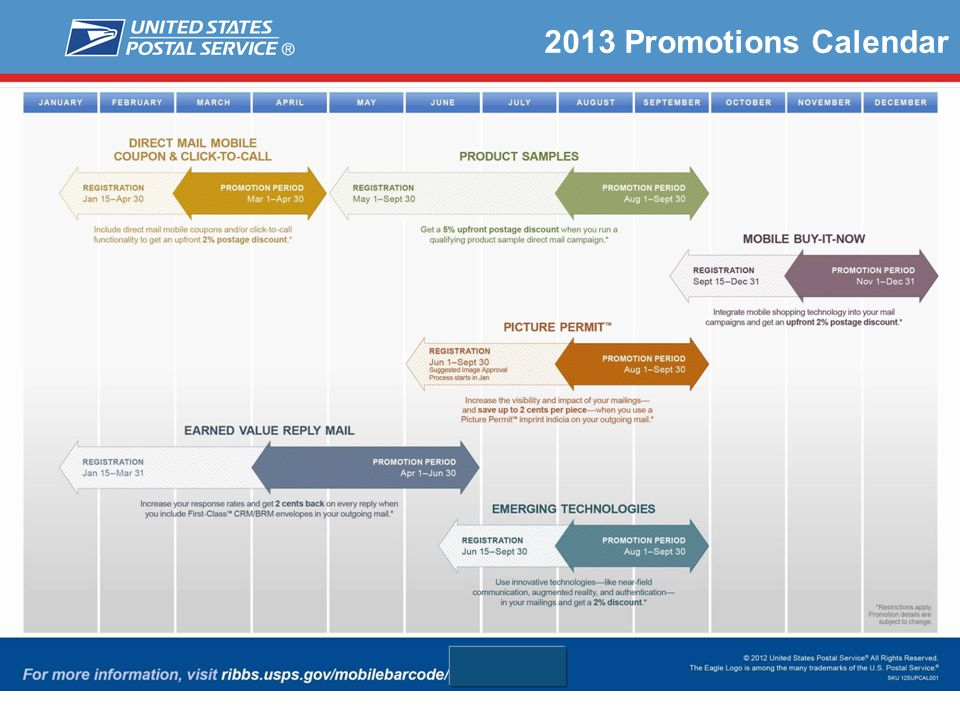 2013 Promotions Calendar We had numerous comments with all our past sales and promotions that mailers didn't have enough time to prepare.