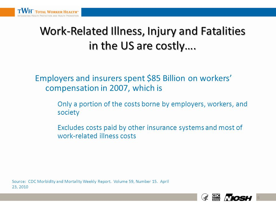 Work-Related Illness, Injury and Fatalities in the US are costly….