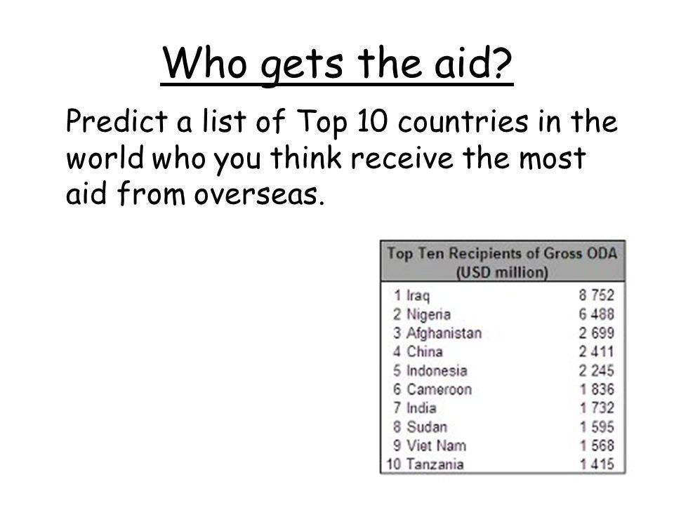 Who gets the aid.