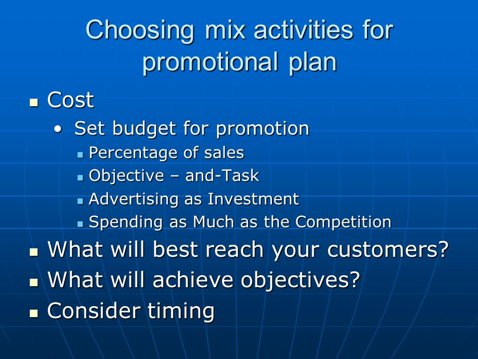 Choosing mix activities for promotional plan