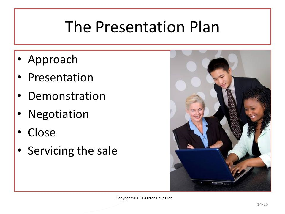 The Presentation Plan Approach Presentation Demonstration Negotiation