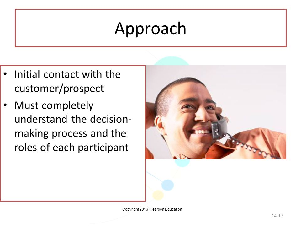 Approach Initial contact with the customer/prospect