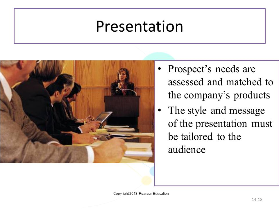 Presentation Prospect's needs are assessed and matched to the company's products.