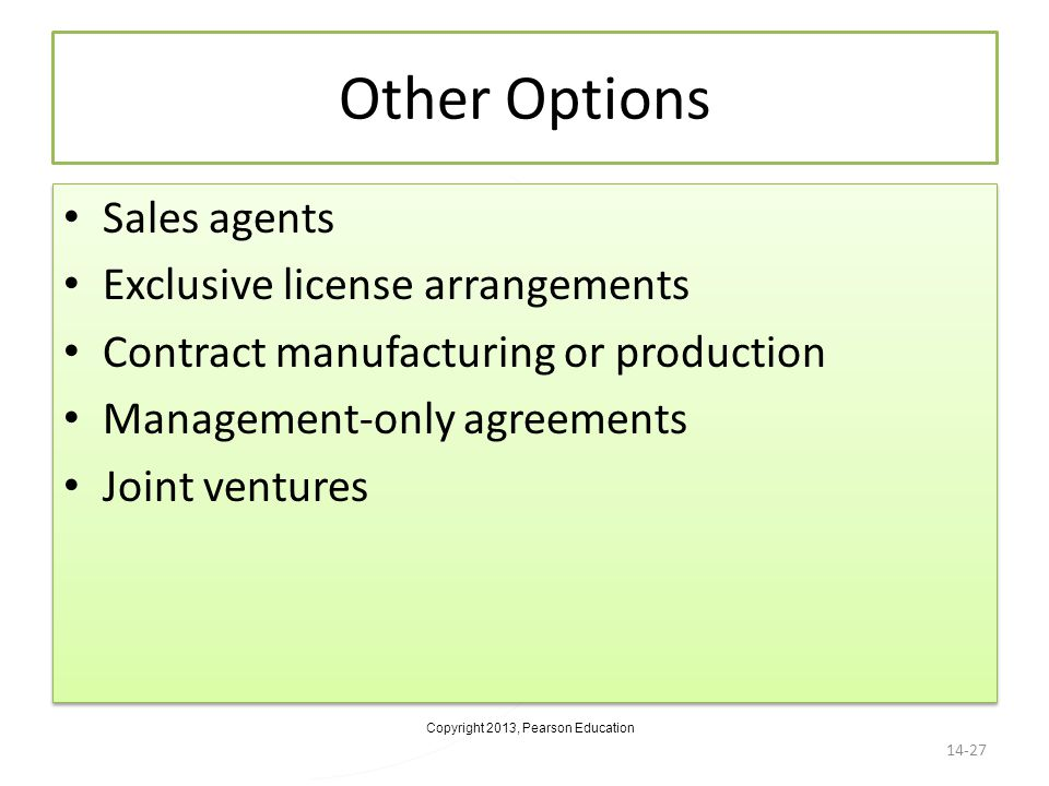 Other Options Sales agents Exclusive license arrangements