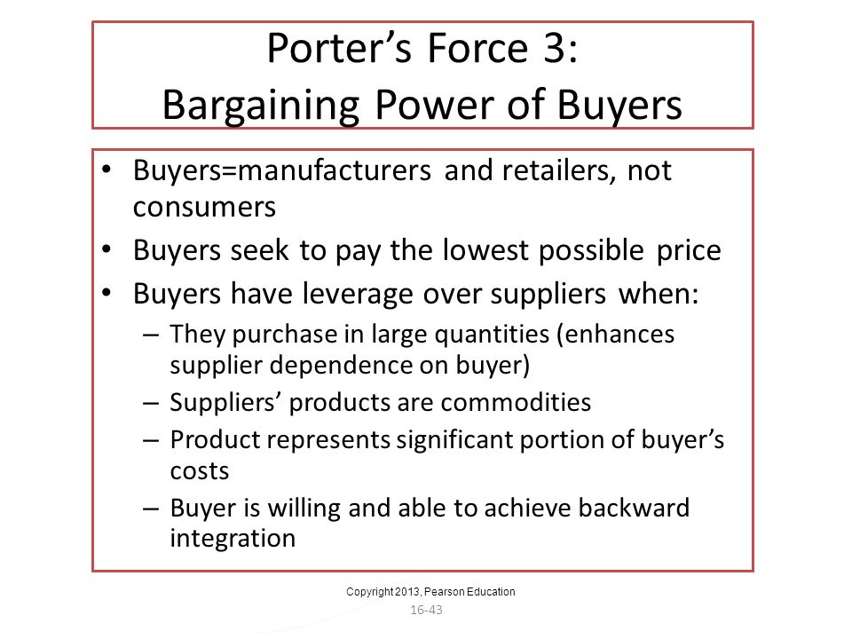 Porter's Force 3: Bargaining Power of Buyers