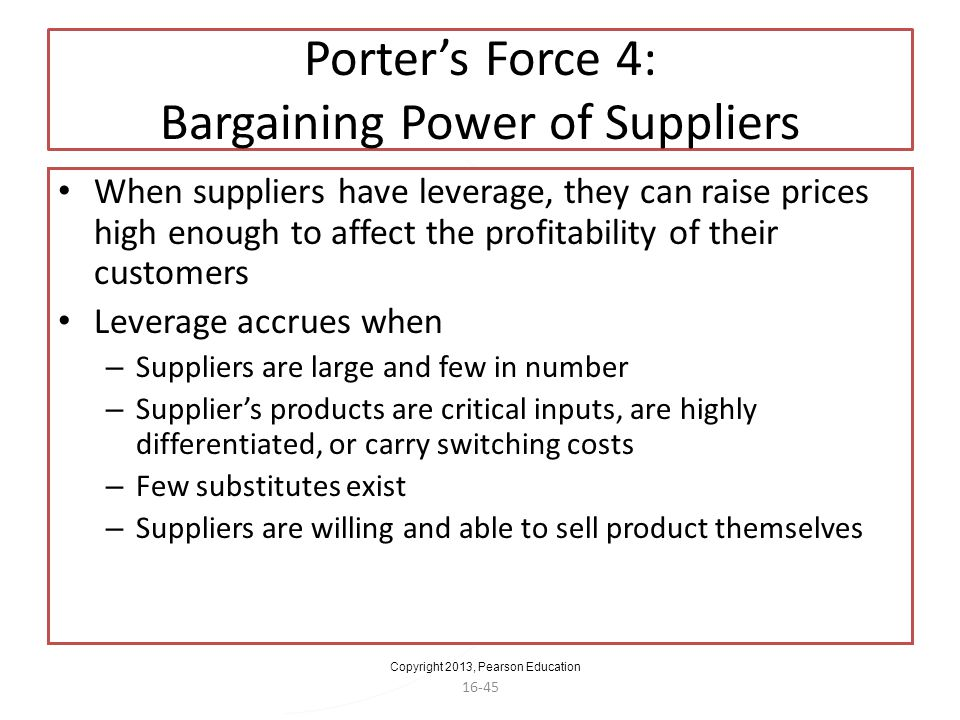 Porter's Force 4: Bargaining Power of Suppliers