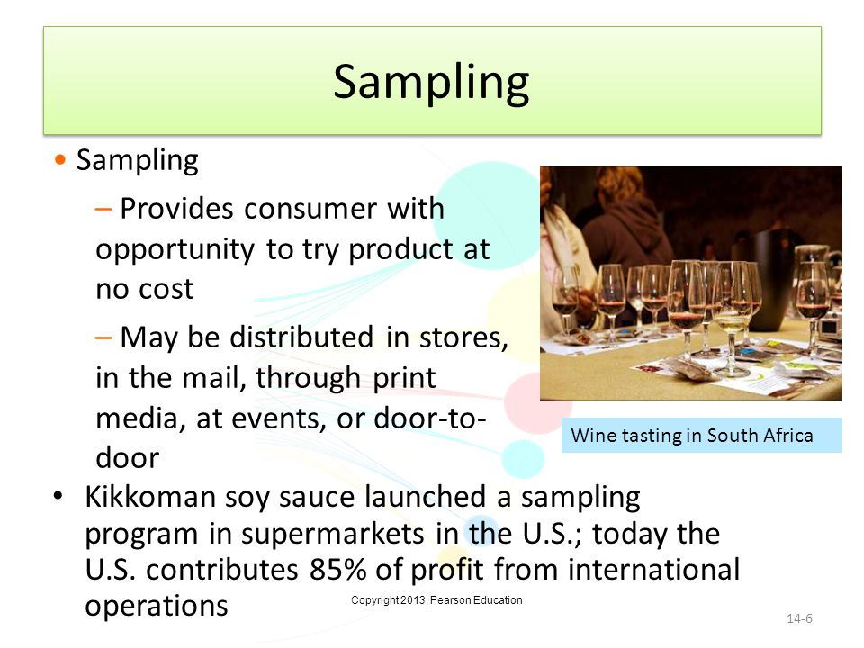 Sampling Sampling. Provides consumer with opportunity to try product at no cost.